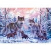 Wolves Family in Snow
