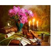 Guitar, Flowers & Candles Painting