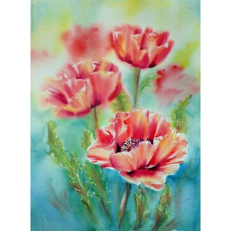 Three Poppy Flowers Diamond Painting