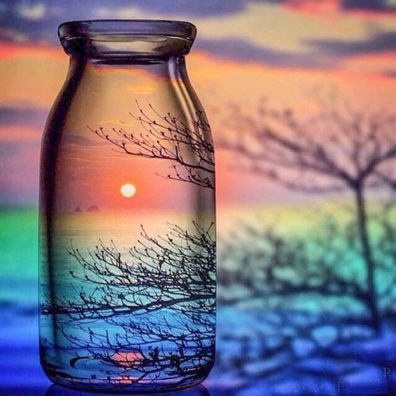 Sunset View in Glass...
