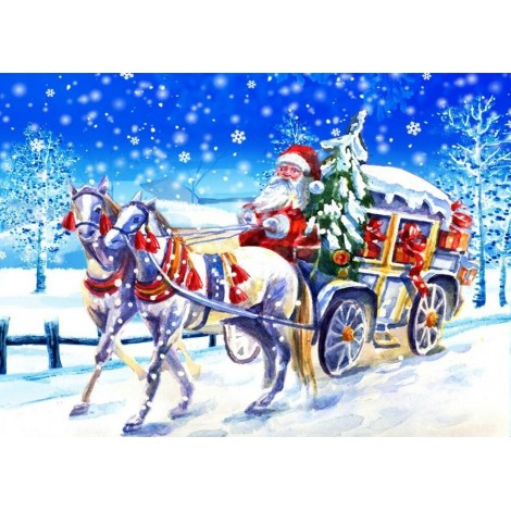 Santa Claus in a Carriage with Horses