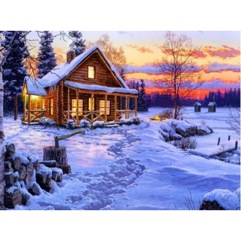 Log Cabin in Snow - Paint by Diamonds