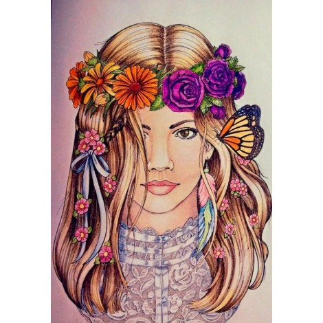 Beautiful Girl with Flowers Crown