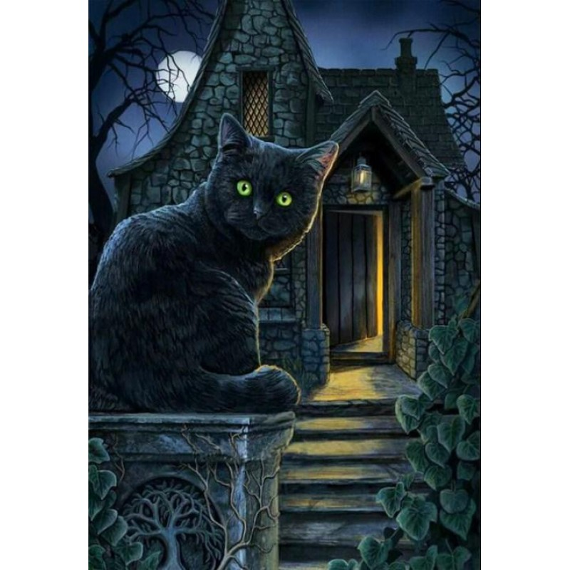 Black Cat with Green...