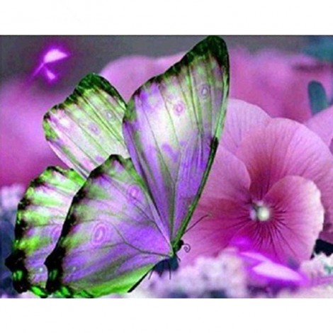 Pink Flowers & Butterfly DIY Diamond Painting