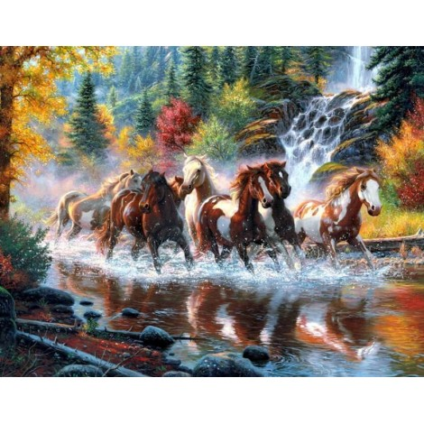 Horses Running in the Forest