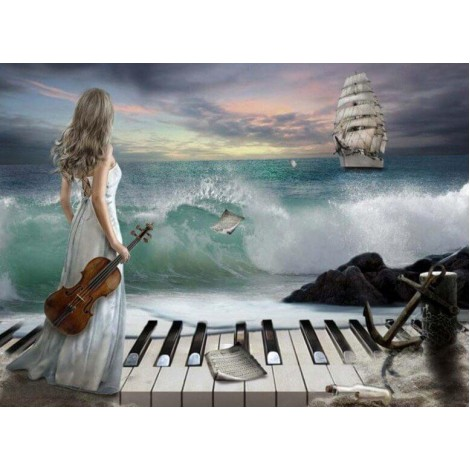 Lady with Piano & Violin at the Beach
