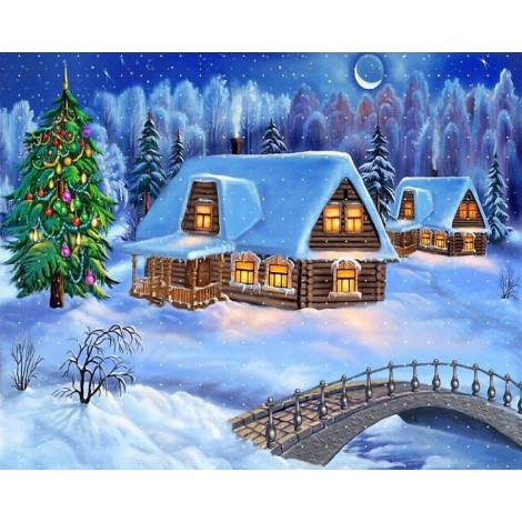 Beautiful Snow Cottages & Christmas Tree