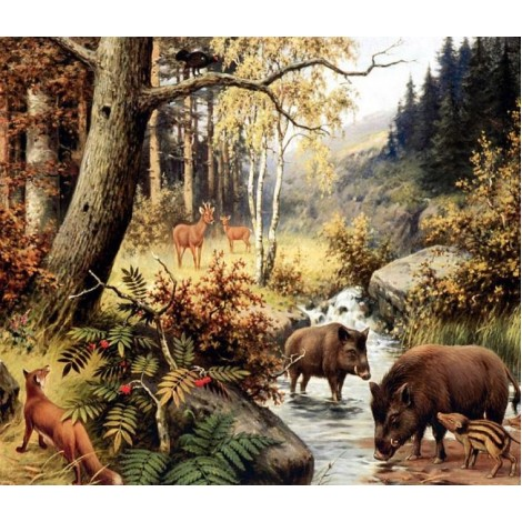 Animals in Forest - Paint by Diamonds