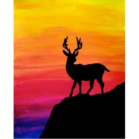 Black Stag with Colorful Background