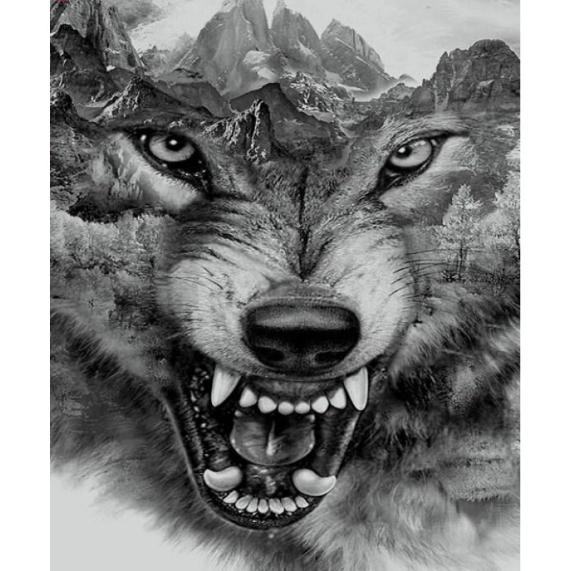 Abstract Wolf Face D...
