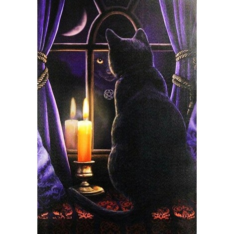 Black Cat & Candle in the Window